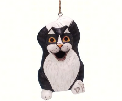 LONG BLACK & WHITE CAT BIRD HOUSE - $34.95