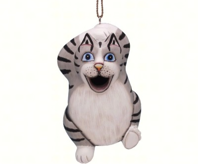 LONG TABBY CAT BIRD HOUSE - $34.95